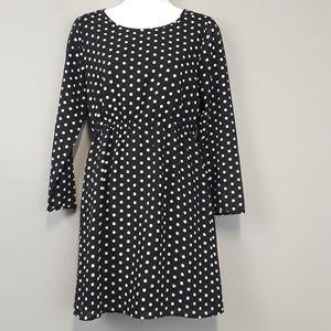 J. Crew Black & White Polka Dot Midi Dress Size 2P
